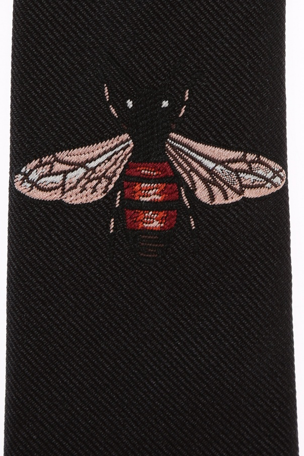 Embroidered bee tie od Gucci