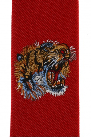 Tiger head-embroidered tie od Gucci Kids