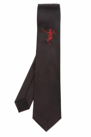 Silk tie with skeleton od Alexander McQueen