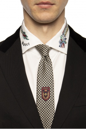 Patterned tie with logo od Gucci