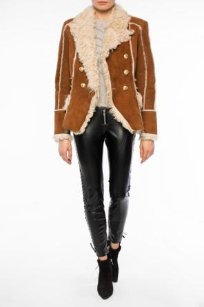 Double-breasted shearling jacket od Balmain
