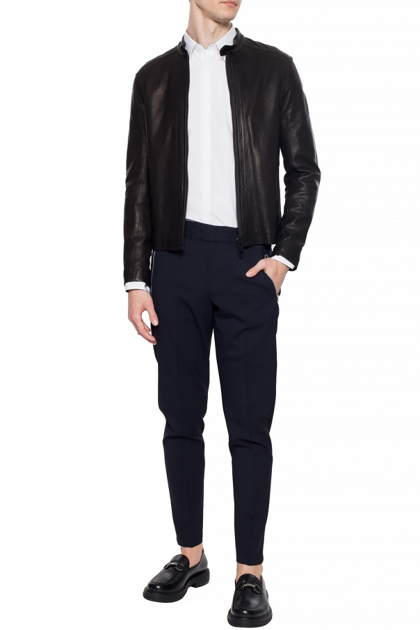Leather jacket with band collar od Emporio Armani