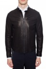 Emporio Armani Leather jacket with band collar