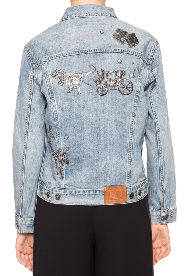 Denim jacket with sequins od Coach