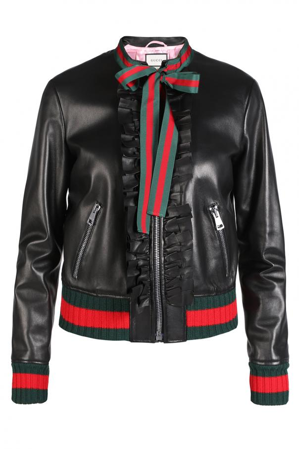 26f3843de Ruffle leather bomber jacket Gucci - Vitkac shop online