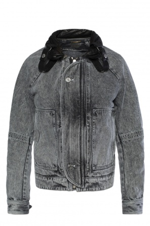Denim jacket with leather collar od Saint Laurent