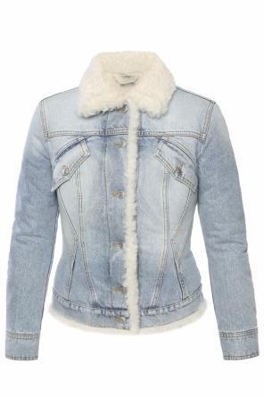 Fur-trimmed denim jacket od Alexander McQueen