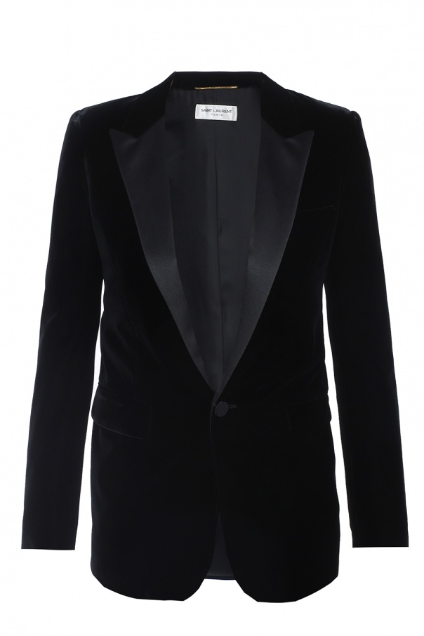 Velvet blazer with peak lapels od Saint Laurent