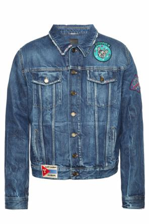 Patched denim jacket od Saint Laurent Paris