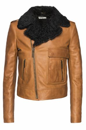 Fur collar jacket od Saint Laurent