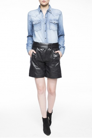 High-waisted leather shorts od Saint Laurent