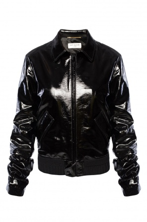 Leather jacket with crinkled sleeves od Saint Laurent Paris