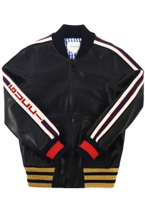 Leather bomber jacket od Gucci Kids