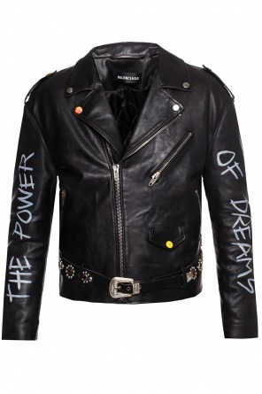 Biker jacket with lettering od Balenciaga
