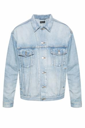 Asymmetrical collar denim jacket od Balenciaga