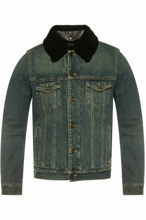 Denim jacket with shearling collar od Saint Laurent