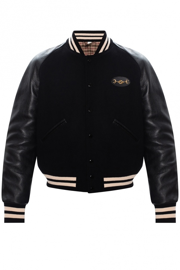Gucci Bomber jacket w/ leather sleeves