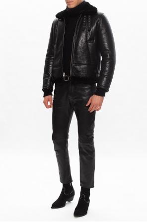 Leather aviator jacket od Saint Laurent