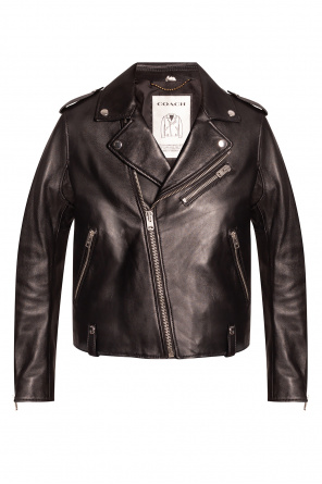 Leather biker jacket od Coach