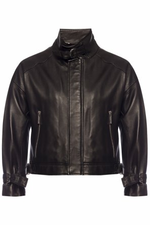 Leather jacket with band collar od Michael Kors