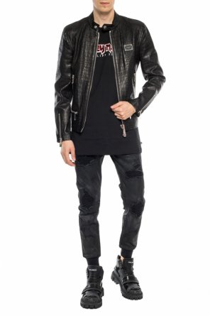 Leather jacket with logo od Philipp Plein