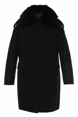 Fur collar coat od Moncler