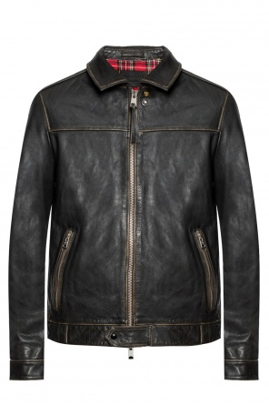 'caleb' leather jacket od AllSaints