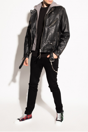 'charter' leather jacket with hood od AllSaints