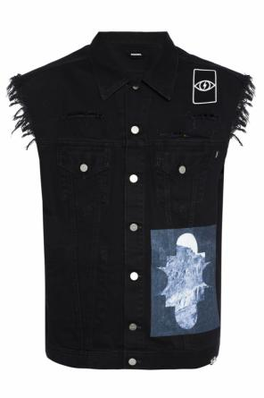 Patched oversize denim vest od Diesel
