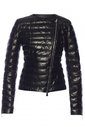 Leather down jacket od Moncler