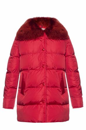 Down jacket with a fur collar od Moncler