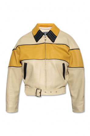 Leather jacket with belt od Diesel