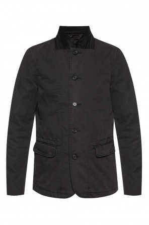 'eston' jacket with leather band collar od AllSaints