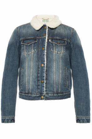 Fur-trimmed denim jacket od Kenzo