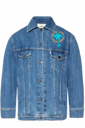 Logo-embroidered denim jacket od Fendi