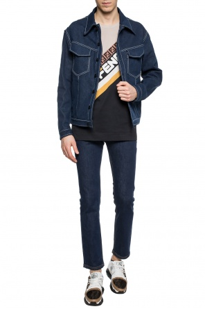 Logo-printed denim jacket od Fendi