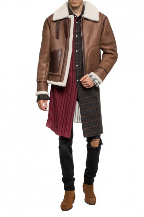 Leather jacket with fur trim od Loewe