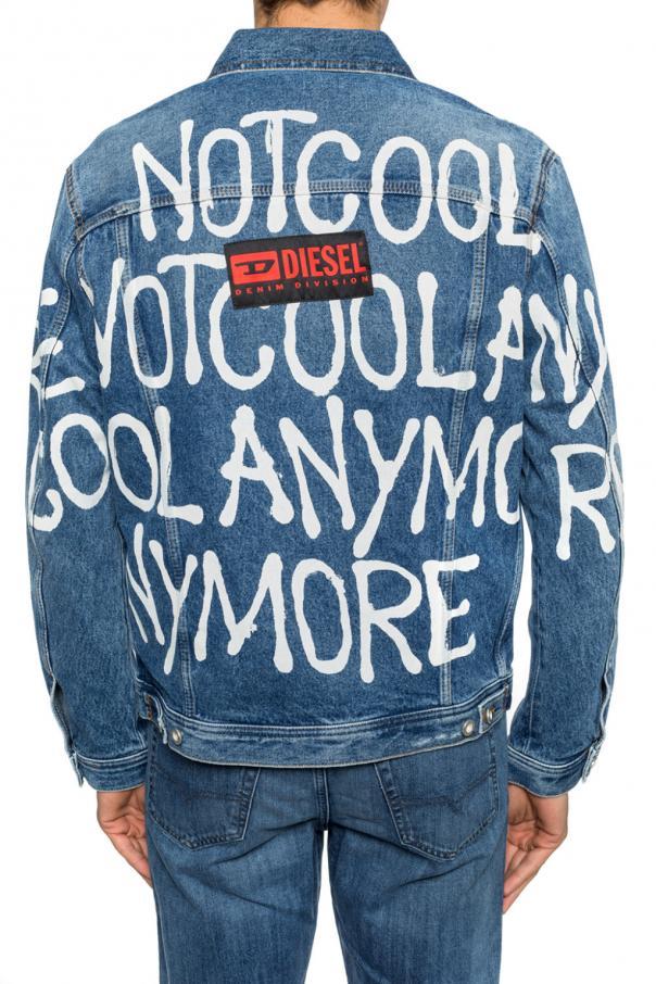denim jacket with logo diesel vitkac shop online