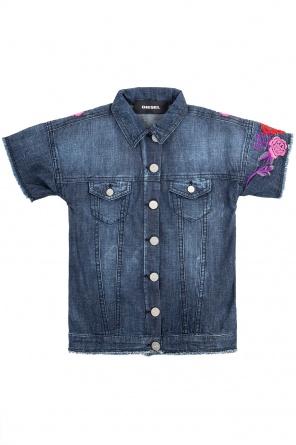 61fc669575b ... Floral-embroidered denim jacket od Diesel