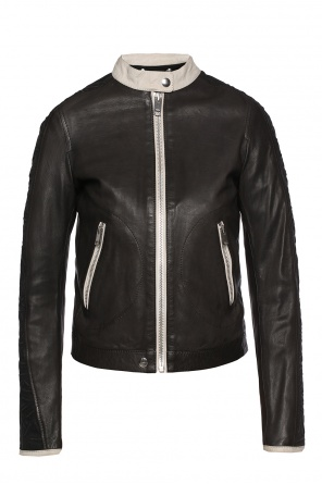Band collar leather jacket od Diesel