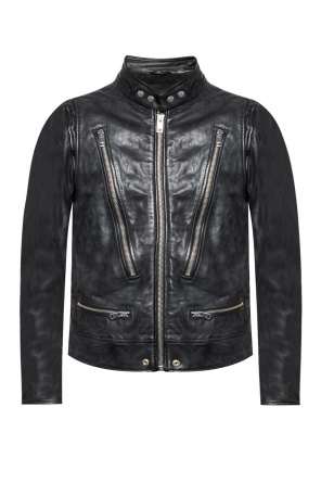 Leather jacket with a stand up collar od Diesel