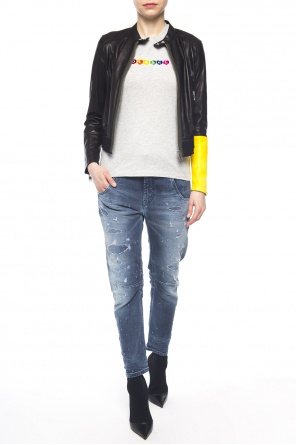 Cropped jacket with band collar od Diesel