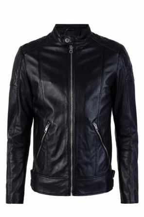 Leather jacket with band collar od Diesel