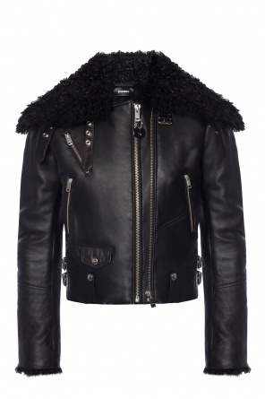 Shearling jacket with fur collar od Diesel