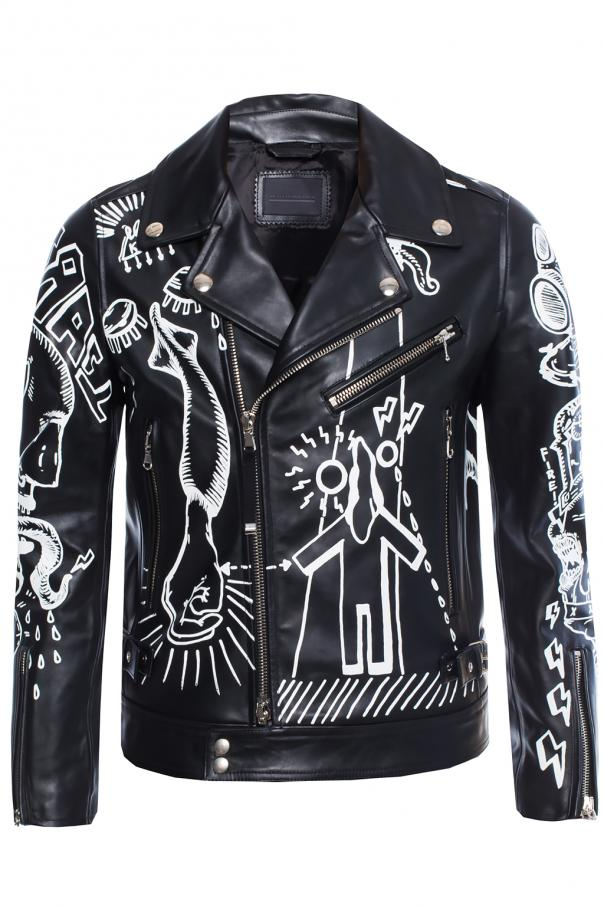 Leather biker jacket od Diesel Black Gold