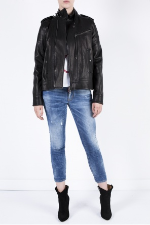 Leather jacket with epaulettes od Diesel Black Gold