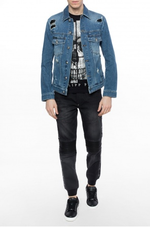 Denim jacket with holes od Philipp Plein