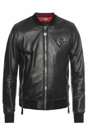 Metal logo leather jacket od Philipp Plein