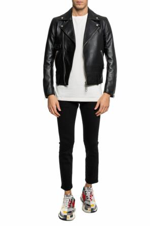 Leather 'biker' jacket with a print od Off White