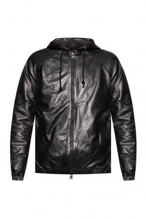 'penton' hooded leather jacket od AllSaints
